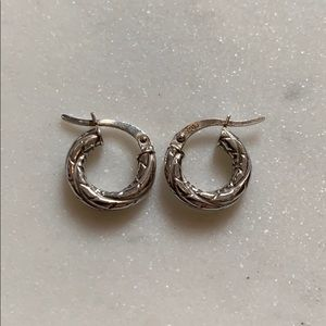 Sterling Etched Hoop Earrings